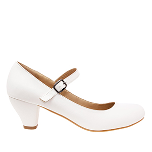 Mary Janes in White faux Leather with wide heel