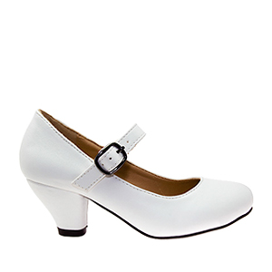 Escarpins Style Mary Jane en Simili Cuir Blanc pour Filles à Talon Large.