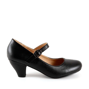 Mary Janes in Black faux Leather with a wide heel for little girls