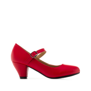 Mary Janes in Red faux Leather with a wide heel for little girls