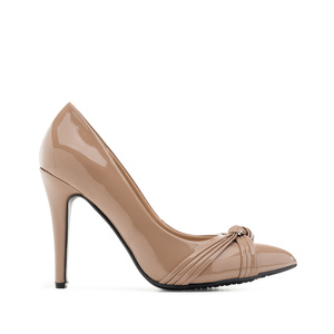 Knot Stilettos in Nude Patent