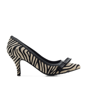 Bow Tie Heeled Shoes in Zebra Fur