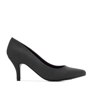 Pumps aus grauem Velourleder