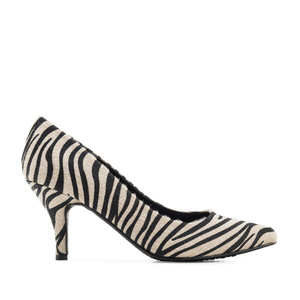 Heeled Shoes in Zebra Fur