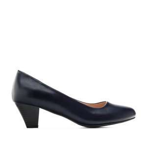 Heeled Shoes in Navy faux Leather