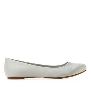Classic Ballerinas in Silver Satin