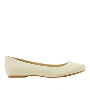 Classic Ballerinas in Beige faux Soft-Leather
