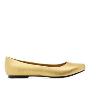 Grandes ballerines aspect Cuir Souple en Or.