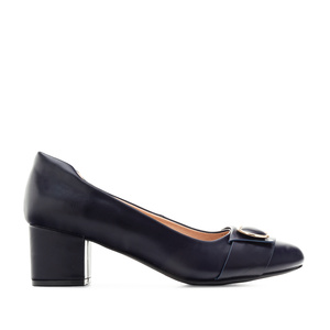 Overlay Heeled Shoes in Navy faux leather