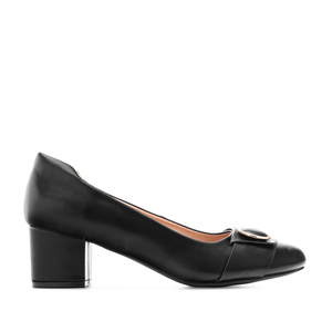 Overlay Heeled Shoes in Black faux leather