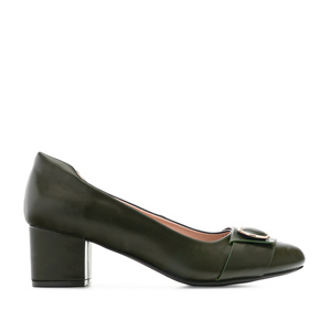 Overlay Heeled Shoes in Olive Green faux leather