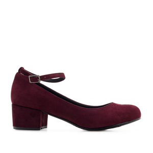 Ankle-Tie Shoes in Burgundy Suede