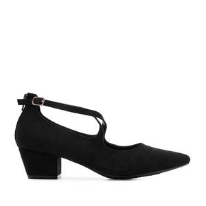 Špic cipele sa ukrštenim kaiševima, crne
