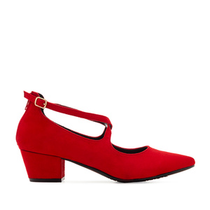 Criss-Cross Shoes in Red Suede