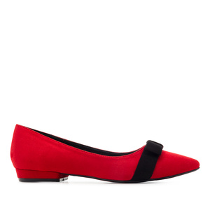 Bow Tie Ballet Flats in Red Suede