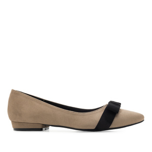 Bow Tie Ballet Flats in Earth-coloured Suede