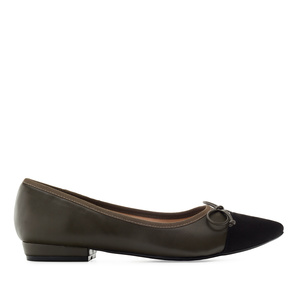 Bowtie Ballet Flats in Olive Green faux Leather