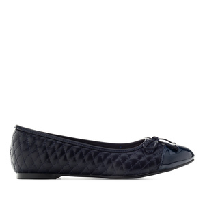 Ballet Flats in Navy faux Leather