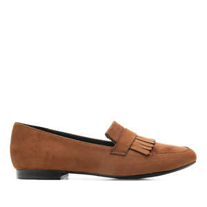 Fringed Loafers in Camel Suede