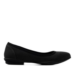 Ballerinas aus schwarzem Nubukleder-Imitat