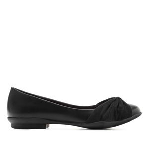 Bow-detail Ballet Flats in Black faux Leather