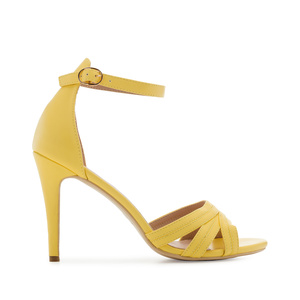 Ankle-Tie Sandals in Yellow faux Leather