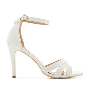 Ankle-Tie Sandals in White faux Leather