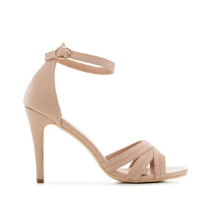 Ankle-Tie Sandals in Nude faux Leather