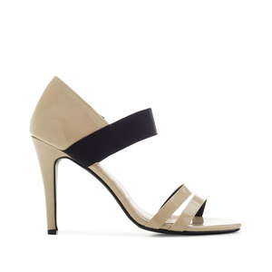 Stiletto Sandals in Beige Patent