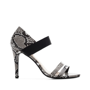 Stiletto Sandals in Black Snake Print