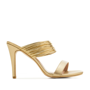 Multi-Ring Sandals in Gold faux Leather