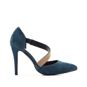 Cross-over Stilettos in Blue Suede