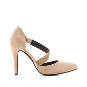Cross-over Stilettos in Beige Suede