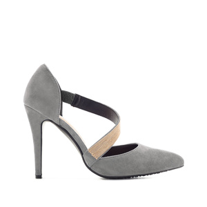 Cross-over Stilettos in Grey Suede