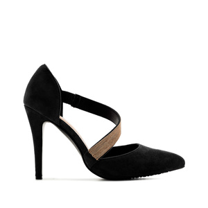 Cross-over Stilettos in Black Suede
