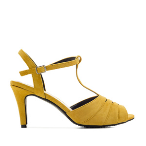 T-Bar Sandals in Yellow Suede