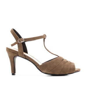 T-Bar Sandals in Earth-coloured Suede