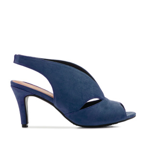 Slingback Wide-band Sandals in Blue Suede