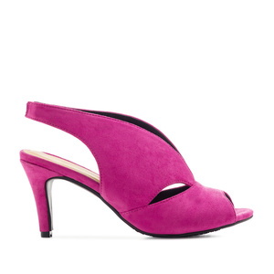 Slingback Wide-band Sandals in Fuchsia Suede