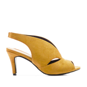 Slingback Wide-band Sandals in Mustard Suede