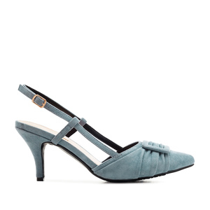 Slingback Shoes in Sky Blue Suede