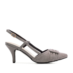 Slingback Shoes in Grey Suede