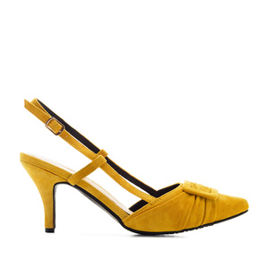 Slingback Shoes in Mustard Suede