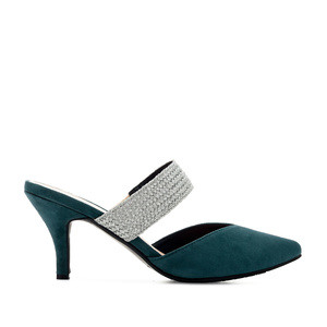 V-Neck Mules in Blue Suede
