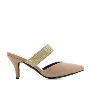 V-Neck Mules in Beige Suede