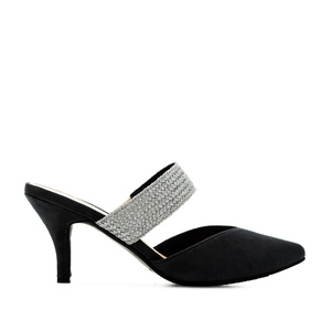 V-Neck Mules in Black Suede