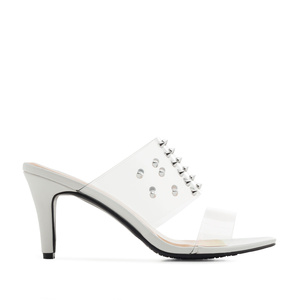 Vinyl Tack Sandals in White faux Leather