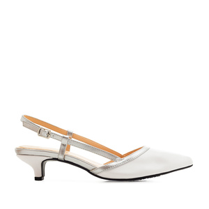 Kitten Slingback Shoes in White faux Leather