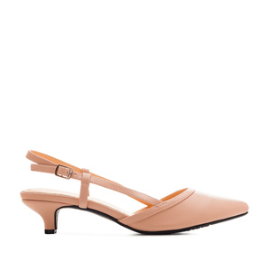Kitten Slingback Shoes in Pink faux Leather