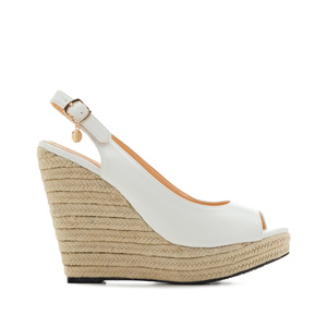 Jute Wedges in White faux Leather